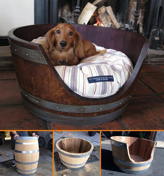 modelos-de-camas-para-cachorro-barril-verniz